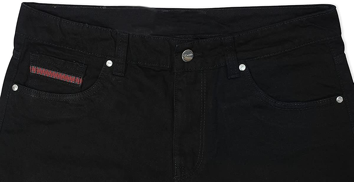 Kara Hub Straight Denim Jean Shorts for Men (Black)