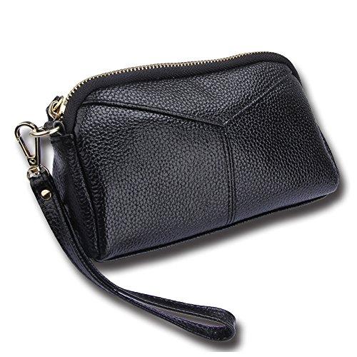 Cheerlife Damen Echt Leder Clutch Tasche Handtasche Abendtasche Handy Geldbeutel Handgelenktaschen mit Reißverschluss (Schwarz)