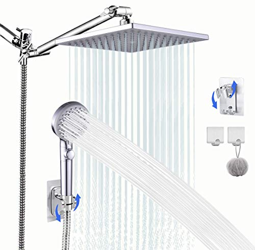 Shower Head with Hose, High Pressure Stainless Steel 8 Inch Rain Showerhead and 5 Settings Handheld Shower Combo with Push Button ON/OFF Switch, 2 Adhesive Holders, Chrome Finish