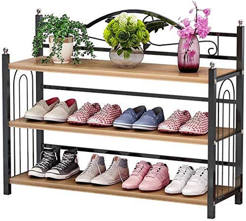 Ranura de calzado ajustable Organizador de zapatos Rack de zapatos Tallera de zapatos de 3 niveles, estante de zapatos metálicos, organizador de almacenamiento para sala de estar, pasillo y gu
