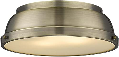 new arrival Golden Lighting 3602-14 AB Duncan Flush Mount, Aged wholesale Brass high quality with Aged Brass Shade online sale