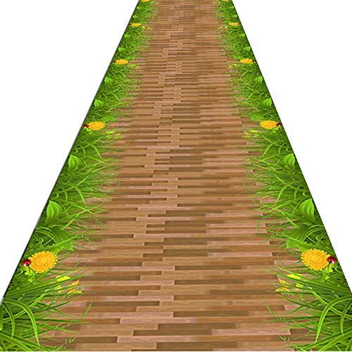 FUSHOU-Tappeto Per Corridoio Tradition Wood Stripe Image Tappetino Decorativo Per Pavimenti Bordo Cucitura Fitta Non Arricciato Lavabile in Lavatrice Elevata Elasticità Tappeto Runner,A,60x460cm