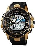 Big Face - Reloj de pulsera para hombre con luz de fondo LED, alarma, resistente al agua, reloj deportivo