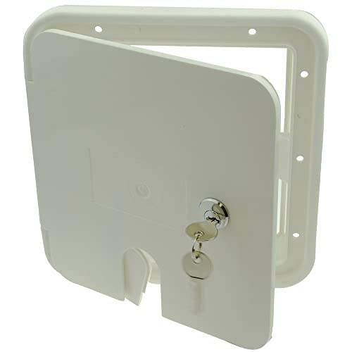 White Square Electric Cable Hatch with Back /& Keys