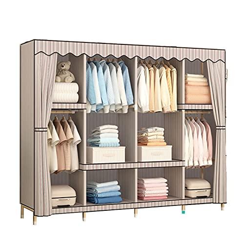 JIAO PAI Armario de tela con rayas marrones para colgar en el dormitorio, organizador de almacenamiento de madera maciza, armario estable (tamaño: 168 x 170 x 45 cm)