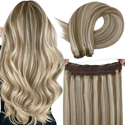 LaaVoo Halo Hair Extensions Brown Blonde Remy Halo Extensions Human Hair Highlight Light Brown Mixed Light Blonde Halo Real Hair Extensions with Secret Fish Line Halo Hairpiece Blonde Thick 80g 12'