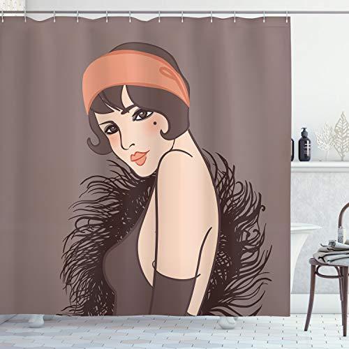 ABAKUHAUS Pin-up girl Douchegordijn, Meisje met Mole, stoffen badkamerdecoratieset met haakjes, 175 x 240 cm, Dark Taupe Dimgrey