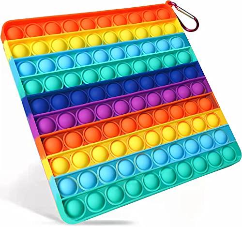 Big Size Push Pop Bubble Sensory Fidget Toys,100 Bubbles Stress Reliever Silicone Pressure Relieving...