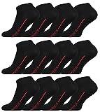 Vincent Creation 12 Paar Herren Sneaker Socken SPORT LINE (Black/Red)