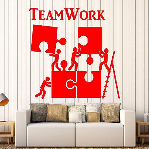 zhuziji Vinyl Wandtattoo Teamwork Motivation Decor Für Büroangestellte Puzzle Wandaufkleber Moderne Innen Kunst Wanddekoration Ho 888-3 74x68 cm