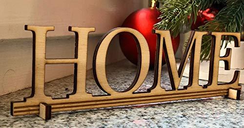 """Perfekto24 Deko Holzbuchstaben """"Home"""" zum aufstellen Dekoration Für Zuhause 20cm x 6cm"""