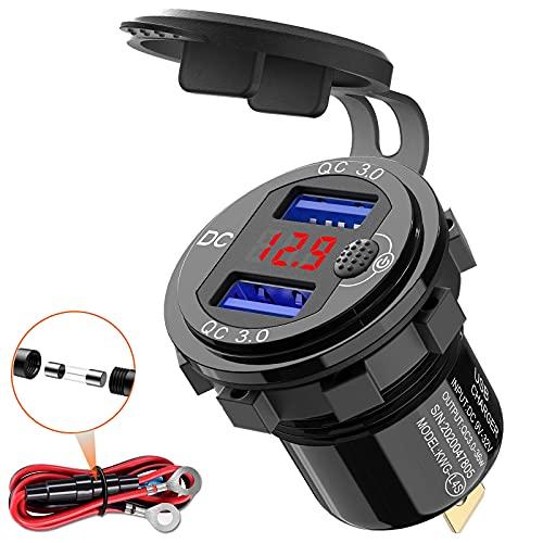 Quick Charge 3.0 USB stopcontact voor de auto, 12 V, met schakelaar, USB-inbouw, 24 V, waterdicht, autolader, sigarettenaansteker, doos met rode led-voltmeter, spanningsweergave voor motorfiets, boot, vrachtwagen, caravan