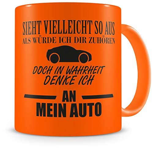Samunshi® Auto Tasse mit Spruch Geschenk für Mann Frau Oma oder Opa Kaffeetasse groß Lustige Tassen zum Geburtstag neon orange 300ml