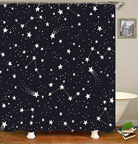 Whim-Wham Constellations and Stars Shower Curtain Black and White Night Sky Cartoon Childish Space Meteor Galaxy Polaris The Milky Way Luxury Shower Curtain Set with 12 Hooks.