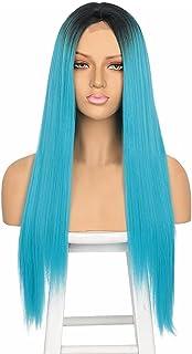 30 Inch Fashion Straight Long Costume Anime Cosplay Wig (Blue)