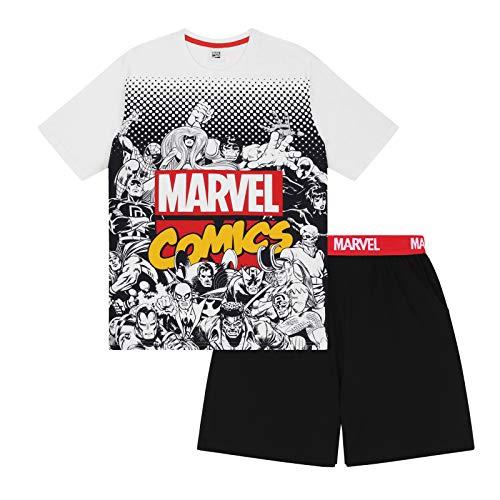 Marvel Comics - Herren Schlafanzug - kurz - mit Hulk, Spiderman und Iron Man - Offizielles Merchandise - Weiß - M