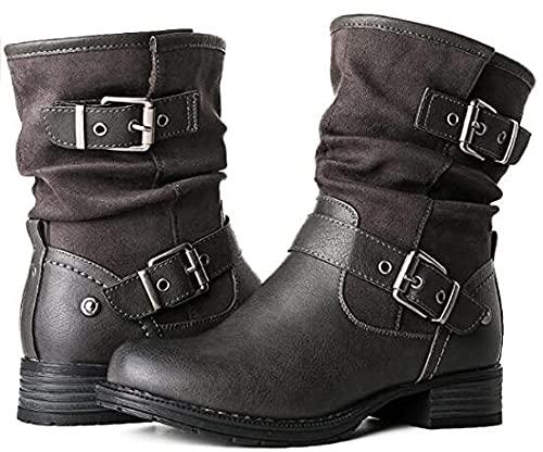 Briskorry Botas de media plataforma para mujer, botas planas, con cremallera, hasp, otoño e invierno, botas medianas de tacón grueso, botas de moda, botas de exterior, botas antideslizantes de piel
