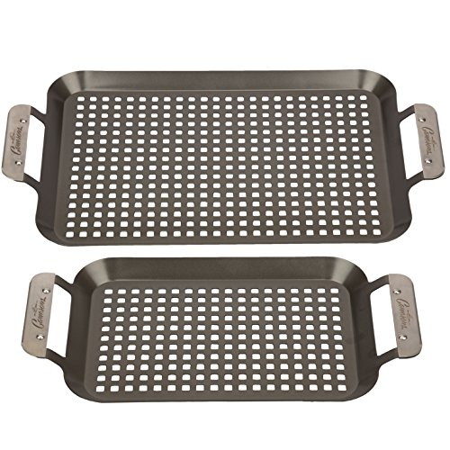 grills with pans Grill Topper BBQ Grilling Pans (Set of 2) - Non-Stick Barbecue Trays w Stainless Steel Handles for Meat, Vegetables, and Seafood