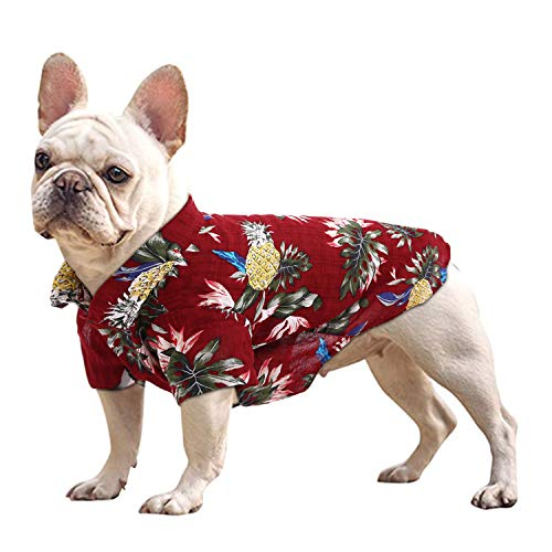 KOESON Hawaiian Dog Shirts Pet Summer Cool T-Shirt, Cute Tropical Pineapple Printed Puppy Camping Short Sleeve Apparel, Beachwear Costume for Doggy & Cat, Red, L