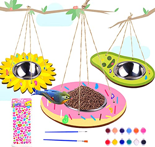 Kids Arts and Crafts Bird Feeders for Outside, 3 Pack DIY Wooden Paint Kits...