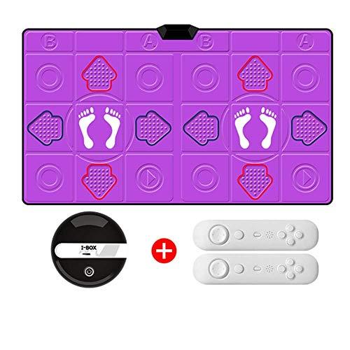 GH-YS Drahtlose Doppeltanzmatten, mit Konsolenspielbox, PU-Lederspielmatte Verdickung Schallschutz Weicher Tanzteppich für Erwachsene/Kinder HD-TV-Computer mit doppeltem Verwendungszweck, Lila
