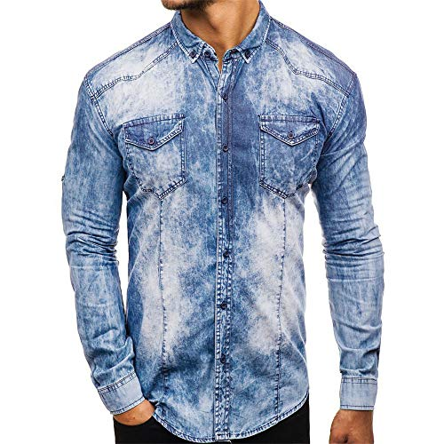 NLZQ Mens Denim Shirts Casual Long Sleeve Westerm Cowboy Slim Shirts Comfortable Lapel Patchwork Camouflage top Spring, Autumn and Winter New Buttons Fashion Coat XXL