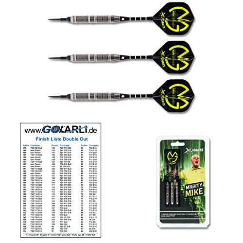 XQMax Michael van Gerwen Brass Soft 18gr. im Tungsten Look Soft Darts (Soft Dartpfeile) mit GOKarli Finish Card