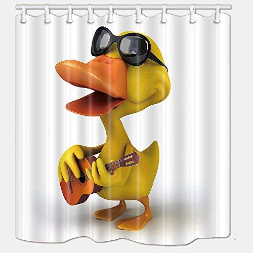 nymb die gelb Ente mit Sonnenbrille Spielen die Gitarre Bad Vorhang Polyester-175,3x 177,8cm Schimmelresistent-Dusche Vorhänge Fantastische Dekorationen