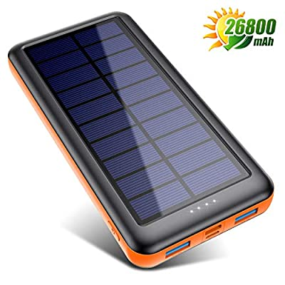Solar Charger [26800mAh] Solar Power Bank Portable Charger with Smart 4 Indicator LEDs and 2 Outputs & 2 Inputs (Michro USB and Type-C) External Battery Pack for Smartphone, Android Cellphone