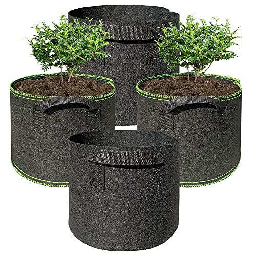 Hongyans 4 Pezzi Sacchi per Piante 5 Galloni Sacchetti per Coltivazione di Patate Sacchi Giardinaggio Sacco per Piante in Tessuto Traspirante con Manici per Pomodori Carote Fragole