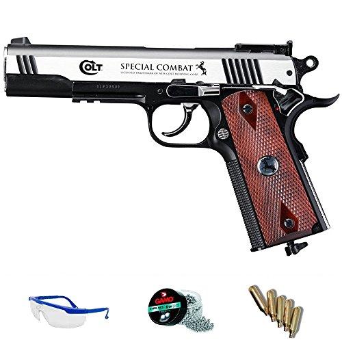 COLT® Pack Pistola de Aire comprimido Umarex Special Combat - Arma de CO2 y balines BBS (perdigones de Acero) Full Metal <3,5J