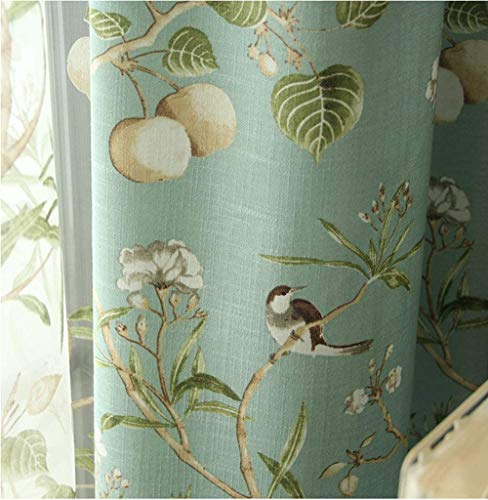 KMSG Blue Farmhouse Vintage Printed Floral Birds Patterns Extra Wide Curtains for Sliding Glass Door Thermal Insulated Room Darkening Window Drapes for Living Room/Bedroom 2 Panels W52 x L84 Inch