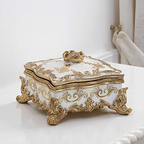 SIMONE GUARRACINO LUXURY DESIGN Scatola Rose portagioie Quadrato Decoro Floreale Queen Avorio e Foglia Oro