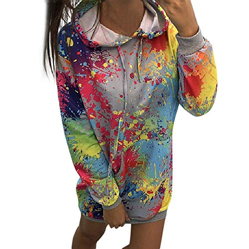 KPPONG Pullover Damen Mode Farbstoff Regenbogen Lange Kapuzenpullover Freizeit Hooded Pulli Sweatshirts Langarmshirt