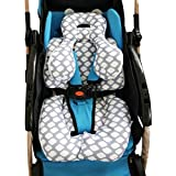 Infant Car Seat Insert, KAKIBLIN Cotton Baby Stroller Liner Head and Body Support Pillow, ...
