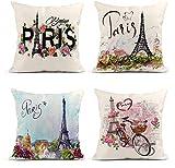 giyiohok Set di 4 Fodere per Cuscini in Lino per Pittura a Olio Parigi Paesaggio Urbano Europeo Francia Torre Eiffel Nero Decorazione per la casa Quadrato 45 x 45 cm-Parigi