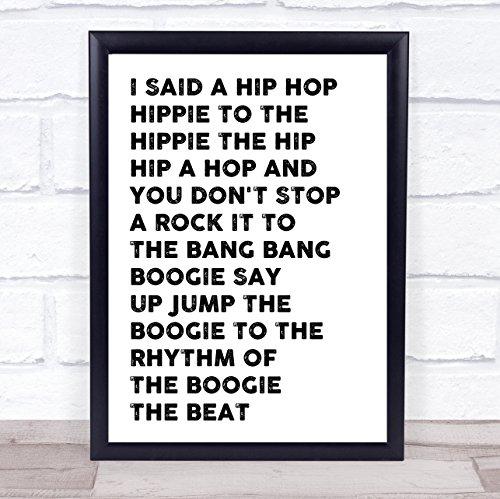 White & Black I Said Hip Hop Rappers Delight Song Lírica cita impresa Framed Brushed Gold Medium