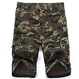 LY4U Hombres Camuflaje táctico multibolsillo Pantalones Cortos Loose Fit Algodón Cargo Moda Casual...