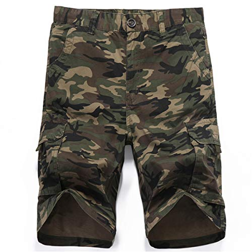 LY4U Hommes Tactical Short Camouflage à Poches Loose Fit Cotton Cargo Casual Fashion Shorts