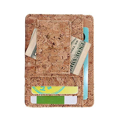 Cartera de tarjeta de crédito, Boshiho Vegan Cork Wallet ultra delgado para hombres tarjetero titular 8 ranuras para tarjetas (corcho 02)