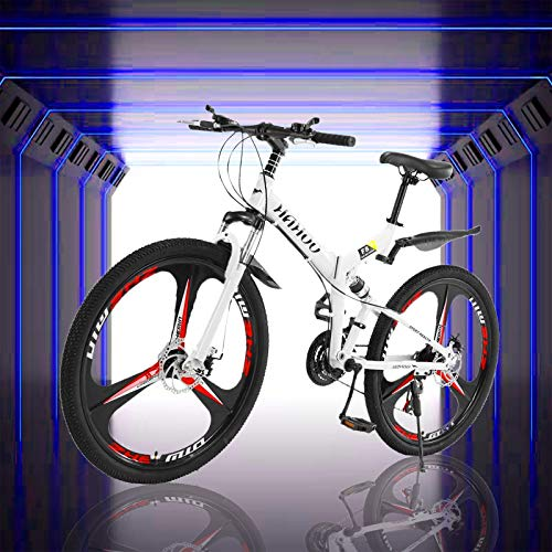 ACESPEE 26 Inch Mountain Bike with Dual Disc Brakes,21 Speed Adult Folding Full Suspension Bike,Non-Slip