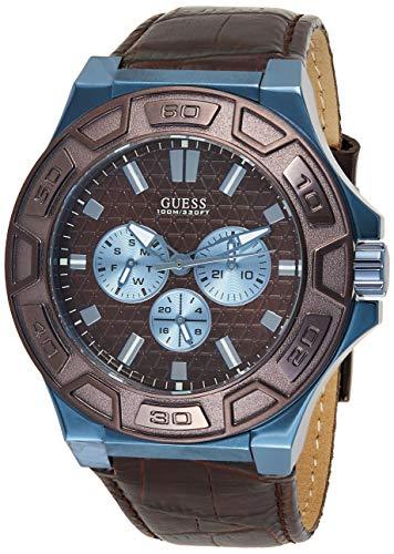 Guess Herren Analog Quarz Uhr mit Leder Armband W0674G5
