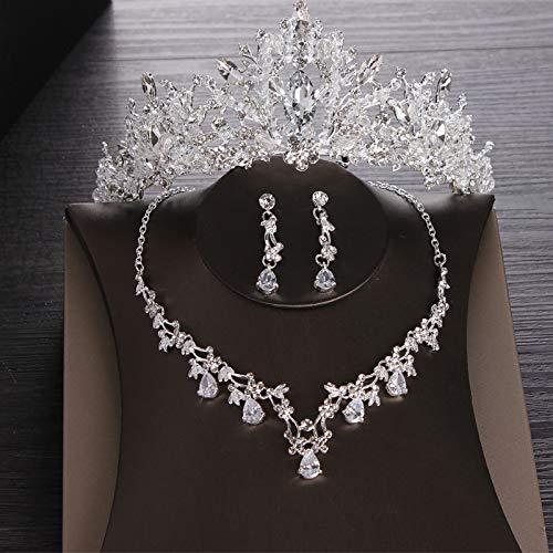 GongDi Diademe Braut Kopfschmuck Hochzeit Prinzessin Hochzeit Haarschmuck Atmosphäre Krone Halskette Ohrringe