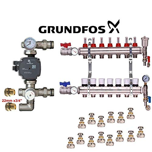 Vloerverwarming Compleet Manifold Kit+Grundfos (A) Nominale Pomp 16mm x3/4eurocone connectors