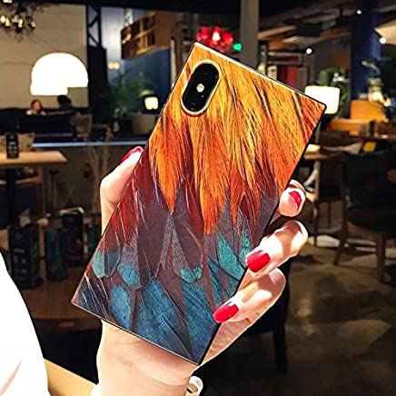 KIMICO Unique Square Case for iPhone X, 5.8 inches, Colorful Feather Design [Flexible Back+Soft TPU Bumper] [Extra Shock Absorption Corner][Hi-Def Print] (Feather Abstract X)