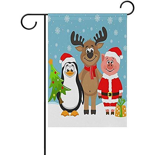 qinzuisp Vlag Grappige Rendier Pinguïn Leuke Varken Kerstman Kostuum Outdoor Perfect Decoratieve Tuin Vlag Decoratie Tuin Binnentuin Dubbele Zijde Yard 32X48Cm