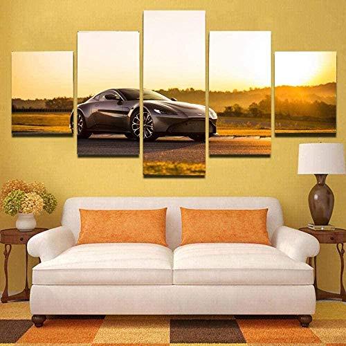 5 Piezas Lienzos Cuadros Pinturas Paisaje Vantage Sunset Sport Cars Cuadros Modernos Impresión Imagen Artística El Arte De La Pared del Hogar Salón Oficina Mordern Decoración Sin Marco
