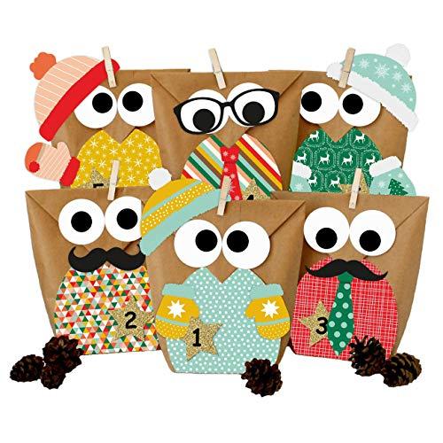 Papierdrachen DIY Adventskalender zum Befüllen - Weihnachtseulen - Eulen Weihnachten 2019 - Set Gelb Bunt mit zusätzlicher Dekoration - zum selbst basteln - für Kinder