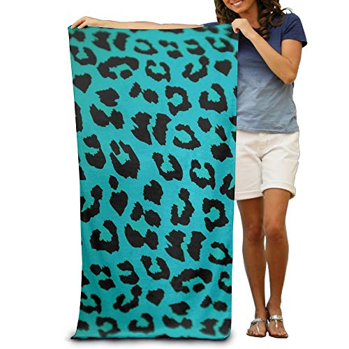 KIMIOE Toalla Toalla de Playa Green Black Leopard Cow Pattern Beach Towels Luxury Soft Eco-Friendly Printing Design Outdoors,Non-Toxic décor 31'x 51'in