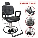 Hydraulic Reclining Styling Barber Chair Salon Spa Tattoo Chair Beauty Equipment (18', Black)